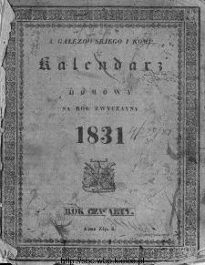 A. Gałęzowskiego i Spółki Kalendarz Domowy i Gospodarski na Rok Zwyczajny ... : na południk warszawski ułożony.1831