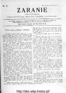 Zaranie : pismo tygodniowe ogólno-kształcące, społeczne, rolnicze i przemysłowe 1910, nr 12