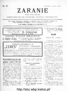 Zaranie : pismo tygodniowe ogólno-kształcące, społeczne, rolnicze i przemysłowe 1910, nr 22