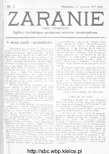 Zaranie : pismo tygodniowe ogólno-kształcące, społeczne, rolnicze i przemysłowe 1911, nr 2