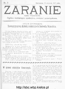 Zaranie : pismo tygodniowe ogólno-kształcące, społeczne, rolnicze i przemysłowe 1911, nr 3