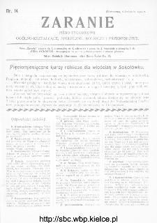 Zaranie : pismo tygodniowe ogólno-kształcące, społeczne, rolnicze i przemysłowe 1911, nr 14