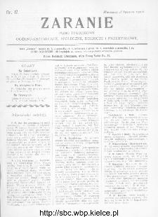 Zaranie : pismo tygodniowe ogólno-kształcące, społeczne, rolnicze i przemysłowe 1911, nr 17