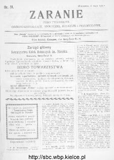 Zaranie : pismo tygodniowe ogólno-kształcące, społeczne, rolnicze i przemysłowe 1911, nr 20