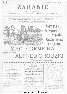Zaranie : pismo tygodniowe ogólno-kształcące, społeczne, rolnicze i przemysłowe 1911, nr 24