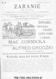 Zaranie : pismo tygodniowe ogólno-kształcące, społeczne, rolnicze i przemysłowe 1911, nr 25