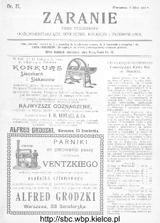 Zaranie : pismo tygodniowe ogólno-kształcące, społeczne, rolnicze i przemysłowe 1911, nr 27
