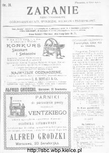 Zaranie : pismo tygodniowe ogólno-kształcące, społeczne, rolnicze i przemysłowe 1911, nr 29