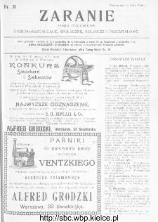 Zaranie : pismo tygodniowe ogólno-kształcące, społeczne, rolnicze i przemysłowe 1911, nr 30