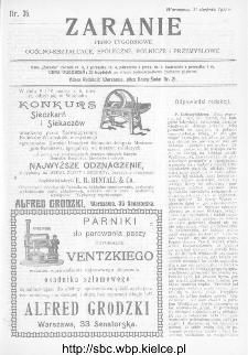 Zaranie : pismo tygodniowe ogólno-kształcące, społeczne, rolnicze i przemysłowe 1911, nr 35