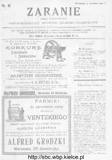 Zaranie : pismo tygodniowe ogólno-kształcące, społeczne, rolnicze i przemysłowe 1911, nr 36
