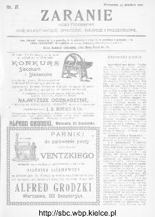 Zaranie : pismo tygodniowe ogólno-kształcące, społeczne, rolnicze i przemysłowe 1911, nr 37