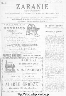 Zaranie : pismo tygodniowe ogólno-kształcące, społeczne, rolnicze i przemysłowe 1911, nr 38