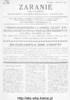 Zaranie : pismo tygodniowe ogólno-kształcące, społeczne, rolnicze i przemysłowe 1911, nr 40
