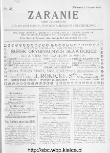 Zaranie : pismo tygodniowe ogólno-kształcące, społeczne, rolnicze i przemysłowe 1911, nr 45