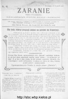 Zaranie : pismo tygodniowe ogólno-kształcące, społeczne, rolnicze i przemysłowe 1911, nr 46