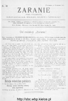 Zaranie : pismo tygodniowe ogólno-kształcące, społeczne, rolnicze i przemysłowe 1911, nr 48