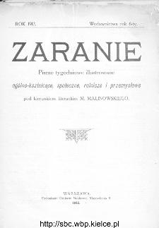 Zaranie : pismo tygodniowe ogólno-kształcące, społeczne, rolnicze i przemysłowe 1912, nr 1