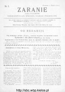 Zaranie : pismo tygodniowe ogólno-kształcące, społeczne, rolnicze i przemysłowe 1912, nr 2