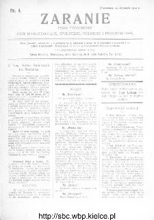 Zaranie : pismo tygodniowe ogólno-kształcące, społeczne, rolnicze i przemysłowe 1912, nr 4