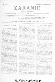 Zaranie : pismo tygodniowe ogólno-kształcące, społeczne, rolnicze i przemysłowe 1912, nr 15