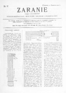 Zaranie : pismo tygodniowe ogólno-kształcące, społeczne, rolnicze i przemysłowe 1912, nr 17