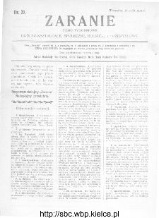 Zaranie : pismo tygodniowe ogólno-kształcące, społeczne, rolnicze i przemysłowe 1912, nr 20