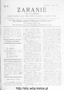Zaranie : pismo tygodniowe ogólno-kształcące, społeczne, rolnicze i przemysłowe 1912, nr 22
