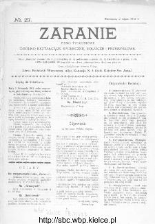 Zaranie : pismo tygodniowe ogólno-kształcące, społeczne, rolnicze i przemysłowe 1912, nr 27