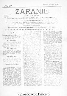 Zaranie : pismo tygodniowe ogólno-kształcące, społeczne, rolnicze i przemysłowe 1912, nr 30