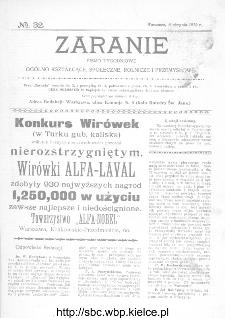 Zaranie : pismo tygodniowe ogólno-kształcące, społeczne, rolnicze i przemysłowe 1912, nr 32