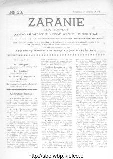 Zaranie : pismo tygodniowe ogólno-kształcące, społeczne, rolnicze i przemysłowe 1912, nr 33
