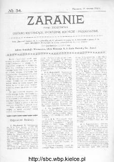 Zaranie : pismo tygodniowe ogólno-kształcące, społeczne, rolnicze i przemysłowe 1912, nr 34