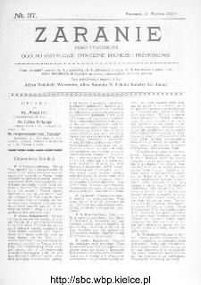 Zaranie : pismo tygodniowe ogólno-kształcące, społeczne, rolnicze i przemysłowe 1912, nr 37
