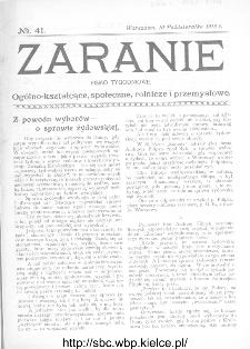 Zaranie : pismo tygodniowe ogólno-kształcące, społeczne, rolnicze i przemysłowe 1912, nr 41