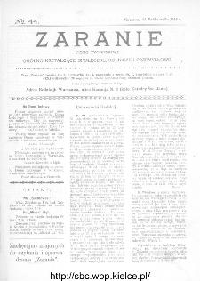 Zaranie : pismo tygodniowe ogólno-kształcące, społeczne, rolnicze i przemysłowe 1912, nr 44