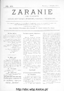 Zaranie : pismo tygodniowe ogólno-kształcące, społeczne, rolnicze i przemysłowe 1912, nr 45