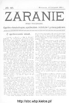 Zaranie : pismo tygodniowe ogólno-kształcące, społeczne, rolnicze i przemysłowe 1912, nr 46