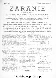 Zaranie : pismo tygodniowe ogólno-kształcące, społeczne, rolnicze i przemysłowe 1912, nr 51