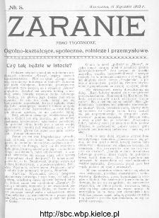 Zaranie : pismo tygodniowe ogólno-kształcące, społeczne, rolnicze i przemysłowe 1913, nr 3