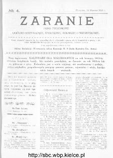 Zaranie : pismo tygodniowe ogólno-kształcące, społeczne, rolnicze i przemysłowe 1913, nr 4
