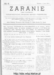 Zaranie : pismo tygodniowe ogólno-kształcące, społeczne, rolnicze i przemysłowe 1913, nr 6
