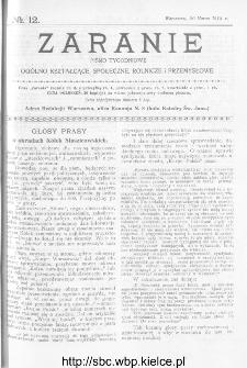 Zaranie : pismo tygodniowe ogólno-kształcące, społeczne, rolnicze i przemysłowe 1913, nr 12