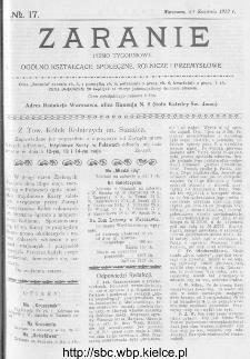 Zaranie : pismo tygodniowe ogólno-kształcące, społeczne, rolnicze i przemysłowe 1913, nr 17