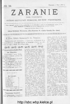 Zaranie : pismo tygodniowe ogólno-kształcące, społeczne, rolnicze i przemysłowe 1913, nr 18