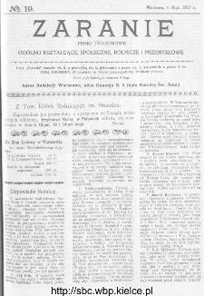 Zaranie : pismo tygodniowe ogólno-kształcące, społeczne, rolnicze i przemysłowe 1913, nr 19