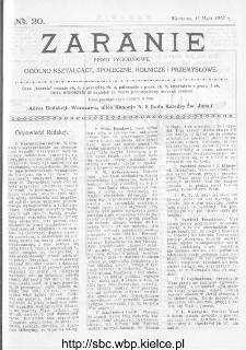 Zaranie : pismo tygodniowe ogólno-kształcące, społeczne, rolnicze i przemysłowe 1913, nr 20