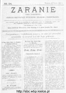 Zaranie : pismo tygodniowe ogólno-kształcące, społeczne, rolnicze i przemysłowe 1913, nr 24