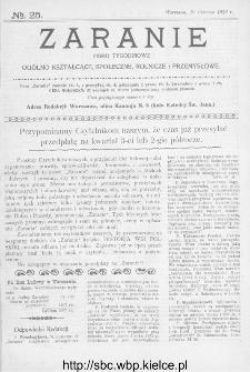 Zaranie : pismo tygodniowe ogólno-kształcące, społeczne, rolnicze i przemysłowe 1913, nr 25