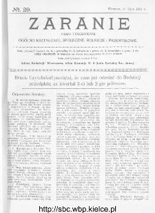 Zaranie : pismo tygodniowe ogólno-kształcące, społeczne, rolnicze i przemysłowe 1913, nr 29
